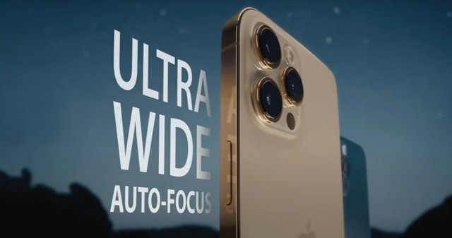 لنز التراواید دوربین ایفون ۱۳ پرو مجهز به فوکوس خودکار است